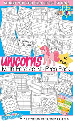 Unicorn Themed Math Practice No Prep Book 40 Pages Kindergarten and First Grade ⋆ Miniature Masterminds - Colorful Dreams Kindergarten Nursery Summer Worksheets, Math Practice Worksheets, Graphing Worksheets, First Grade Worksheets, First Grade Math, Free Worksheets, First Grade Crafts, Grade 1, Kindergarten Math Worksheets