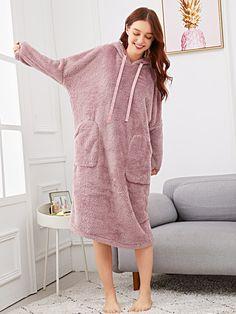 SheIn offers Plush Hooded Night Dress & more to fit your fashionable needs. Coat Dress, Dress P, Lingerie Sleepwear, Nightwear, Night Dress Online, Bodysuit, Pink Fashion, Dress Codes, Pyjamas