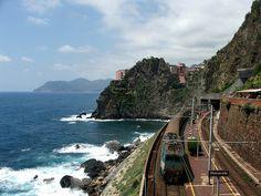 Train in Cinque Terre region - Italy