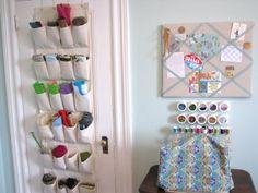 Shoe organizer: storing yarn in a craft room Yarn Storage, Craft Room Storage, Fabric Storage, Craft Rooms, Shoe Storage, Hanging Shoe Organizer, Fabric Organizer, Shoes Organizer, Door Organizer
