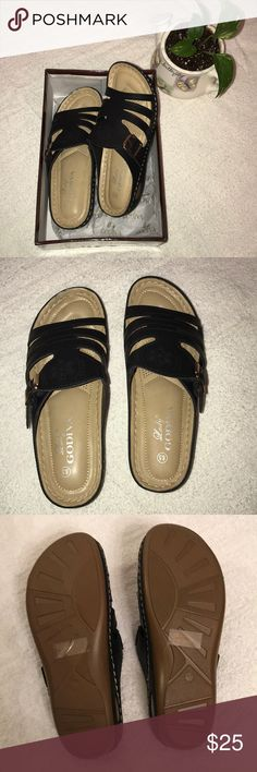 Lady Godiva Open Toe Comfort sandals New in box, women's open toe comfort sandals. Very comfortable, padded and lightweight. Size is 8.5 with black faux leather upper, small scratch on left foot at front (see pic). Priced to sell. Lady Godiva Shoes Sandals