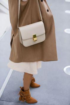 8725a688c6d6 aimee song of style beige celine box bag camel coat schutz fringe boots  Celine Classic Box