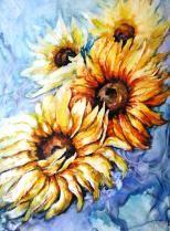 """""""Sonnenblumen"""", auf Lana, mit Passepartout 70 x 50 cm"""