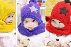 Baby Unisex Winter Series Sets Wool Hats Caps with Shawl