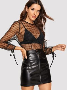 Shop Knot Cuff Sheer Mesh Top Without Bra online. SHEIN offers Knot Cuff Sheer Mesh Top Without Bra & more to fit your fashionable needs. Sheer Mesh Top, Spring Shirts, Fashion News, Women's Fashion, Types Of Sleeves, Blouses For Women, Leather Skirt, Bra, Knot