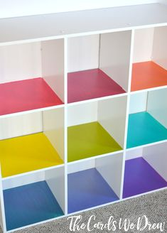 Spruce up the traditional kids toy cubbies with this fun Rainbow Cubby Toy Organizer from The Cards We Drew. Rainbow Bedroom, Rainbow Nursery, Rainbow Room Kids, Traditional Kids Toys, Girl Room, Girls Bedroom, Bedrooms, Playroom Design, Toy Rooms