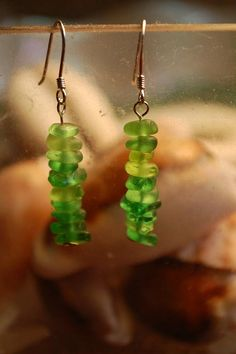 TINY Stacked Green Beachglass Earrings Sterling by LorelisTreasure, $22.00