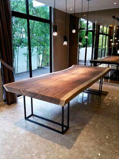 3 Meter Suar Table with Black Powder-coated Steel frame legs