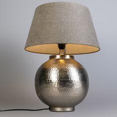 Tafellamp Madeira S nickel met kap 38cm klei #binnenverlichting #nieuw #tafellamp