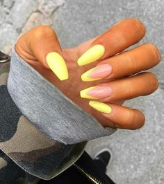 In look for some nail designs and ideas for your nails? Here's our set of must-try coffin acrylic nails for fashionable women. Yellow Nails Design, Yellow Nail Art, Neon Yellow Nails, Acrylic Nails Yellow, Neon Nail Art, White Nail, Neon Green, Almond Acrylic Nails, Best Acrylic Nails