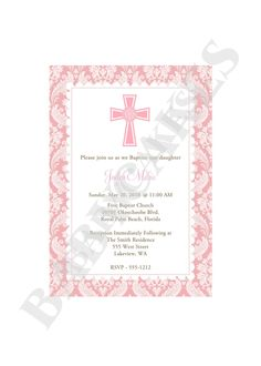 Girl Baptism Christening Dedication First Communion Invitation - DIY Print Your Own - Matching Party Printables Available. $12.00, via Etsy.