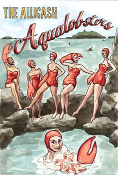 "Items similar to Synchronized Swimming Team Poster- ""The Alligash Aqualobsters"" Framed Original Watercolor on Etsy Synchronized Swimming, Swimming Diving, Swimming Pools, Underwater Art, Swim Team, Merman, Illustrations, Magnolias, Monkey"