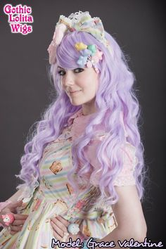 This pastel lavender wig is the perfect pair to sweet lolita, fairy kei, decora, and so much more! Worn here by Grace Valentine, it's a dreamy match to any 'kawaii' look! #lavender #gothiclolitawigs #GLW #IAMDOLLUXE #wig #coolhair #hairfashion #style #hairstyle #longhair #curlyhair #pastel #hairideas
