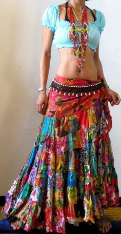 * FREE WORLDWIDE SHIPPING * No Minimum Order - ETHNIC PATCHWORK FLAMENCO DANCE HIPPIE MAXI SKIRT