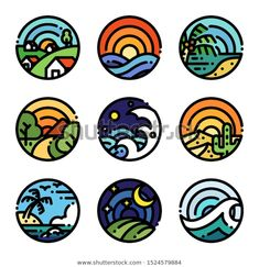 Landscape line art color illustration Pr. Illustration Landscape, Illustration Art, Icon Illustrations, Landscape Art, Mini Drawings, Easy Drawings, Spring Nail Colors, Spring Nails, Icon Design