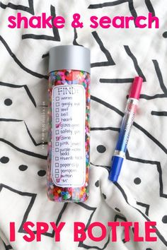 Shake and Search I Spy Bottle - Mama. - - This shake and search I spy bottle with checklist is easy to make and perfect for little readers. Use it during quiet times or when a little calm is needed. Sensory Bottles, Sensory Bins, Sensory Activities, Sensory Play, Learning Activities, Preschool Activities, Sensory Rooms, Sensory Boards, Calm Down Bottle