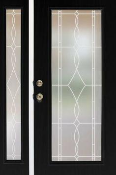 Allure (White Lead Lines) Glass Privacy Window Film, Non-adhesive, static cling window film. >> WindowFilmWorld.com