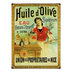Vintage olive oil advertising label from Nice France features European woman cooking with herbs and spices and virgin olive oil.In colours of golden yellow, black and red. From the Wall Art Shoppe for Cowboyannie Designs.