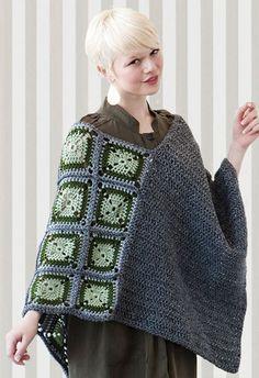 crochet  poncho granny squares inspiration: