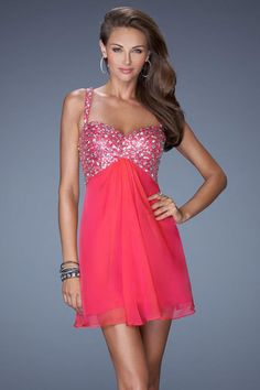 2014 Sexy Homecoming Dresses Twist Back Straps A Line Short&Mini USD 139.99 BPPH16F7FR - BrandPromDresses.com