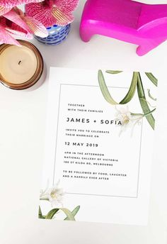 This modern lily wedding invitation by Sail and Swan Studio features white lilies and green leaves and botanicals. They are perfect for an outdoor wedding such as a garden, forest, beach or woodland wedding, but also have a modern look and feel that makes them versatile across the board for any floral or botanical theme.