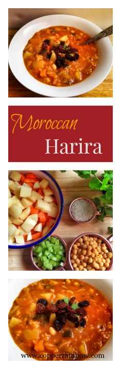 Warming richly spiced vegan Moroccan Harira soup, packed with vegetables and healthy protein