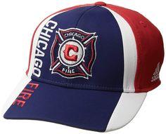 3f640142f82d18 adidas MLS Chicago Fire Adult Men Cut 'N Sew Curved Visor Flex, $23.94