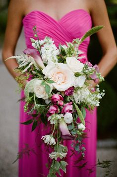 The cascade bridal bouquet is coming back - softer and more romantic with flowing foliages and blooms  Photography by meredithperdue.com, Floral Design by flowerdesignsbypat.com
