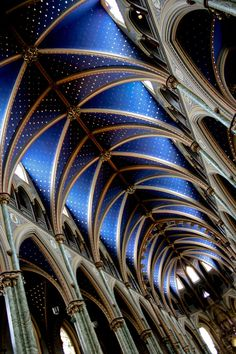 Photograph Interior Dark Cobalt Blue Ottawa Notre Dame Cathedral Architectural…