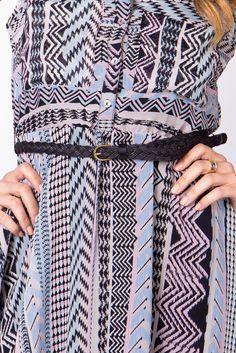 Printed Chiffon Button Up Dress | a-thread