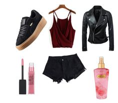 """""""First"""" by kiks2001 ❤ liked on Polyvore featuring WithChic, Puma, Maybelline and Victoria's Secret"""