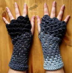 Dragon Scale Gloves - free crochet pattern at U-NEED-A Crafty Creation