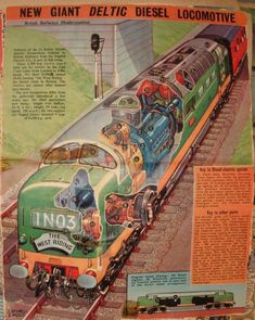 EAGLE Deltic cutaway: Old EAGLE comic cutaway of (as it was to be at that time)… Electric Locomotive, Diesel Locomotive, Steam Locomotive, Train Posters, Railway Posters, Old Train Station, Rail Transport, Train Art, Old Trains