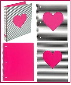nice Divoga Pink Heart School or Office Bundle: Binder, Notebook, Folder Cool Notebooks, Office And School Supplies, Binder, Back To School, Nice, Heart, Cards, Trapper Keeper, Entering School