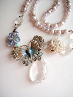 vintage butterfly costume necklace