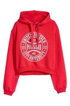 Kurzes Sweatshirt mit jerseygefütterter Kordelzugkapuze, überschnittenen  Schultern und Bündchen an Ärmeln und Saum ca3a09be50