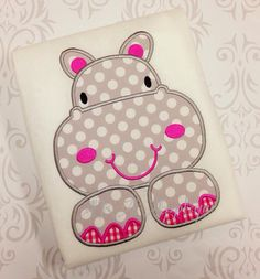 Henrietta Hippo Applique Embroidery Design