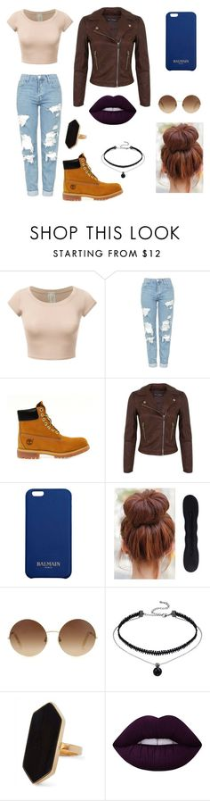 """""""Untitled #52"""" by gissellebeltre on Polyvore featuring Topshop, Timberland, Miss Selfridge, Balmain, Victoria Beckham, Jaeger and Lime Crime"""