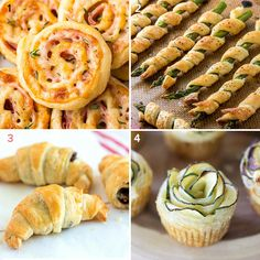 Puff pastry appetizers ideas, for an original and yummy buffet! Finger food recipes (vegetarian, gluten free, smoked salmon, mushrooms and meat...) // party recipe ideas, christmas menu, caprese, savory mini tart, puff pastry cannoli // Antipasti con pasta sfoglia veloci e originali, per ogni ospite! // menù di natale, ricette per feste, facile e veloce, tutorial Puff Pastry Appetizers, Puff Pastry Recipes, Finger Food Appetizers, Appetizer Recipes, Vegetarian Pastries, Vegetarian Recipes, Gluten Free Puff Pastry, Mini Tart, Dips