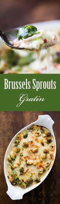 Brussels Sprouts Gratin ~ Brussels sprouts blanched and baked in a cheesy white sauce with pancetta and gruyere. A perfect Thanksgiving side! ~ SimplyRecipes.com