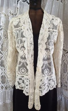 Stunning-Antiqeue-Ladies-Jacket-French-Normandy-Lace-Phenomenal