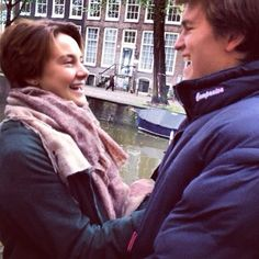 Shailene Woodley and Ansel Elgort being rather adorable in Amsterdam