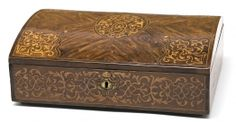 Caja-escritorio Regencia en palo violeta con marquetería de maderas frutales, del siglo XVIII
