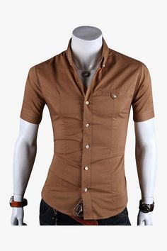 Slim Fit Short Sleeve Shirt In Brown