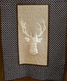 Modern deer head baby boy crib quilt 40x40   by createdbymammy