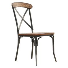 Showcasing an x-shaped back and a metal base, this classic side chair is perfect pulled up to your writing desk or kitchen table.