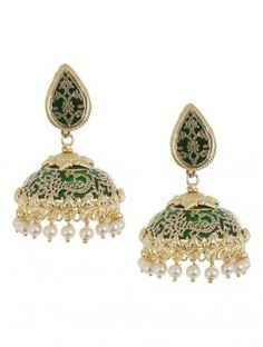 Golden-Green Floral Jhumkis