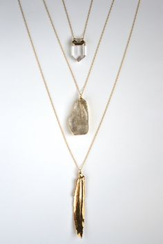 Gold Feather & Crystal Layering Necklaces via Etsy