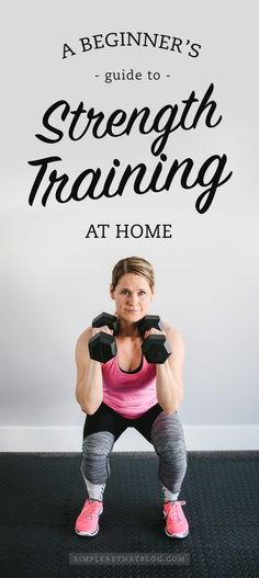 "A Beginner's Guide to Strength Training at Home Interested in fitness training at home but unsure where to start? Check out ""A Beginner's Guide to Strength Training at Home"" for 5 tips on safe, effective weight training and a total body workout y Home Strength Training, Strength Training For Beginners, Workout For Beginners, Home Workout Beginner, Strength Workout At Home, Strength Training For Runners, Fitness For Beginners, Begginer Workout, Strenght Training"