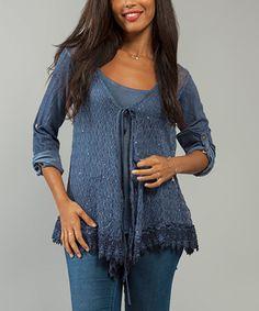 Look what I found on #zulily! Blue Sequin Tie-Front Top #zulilyfinds